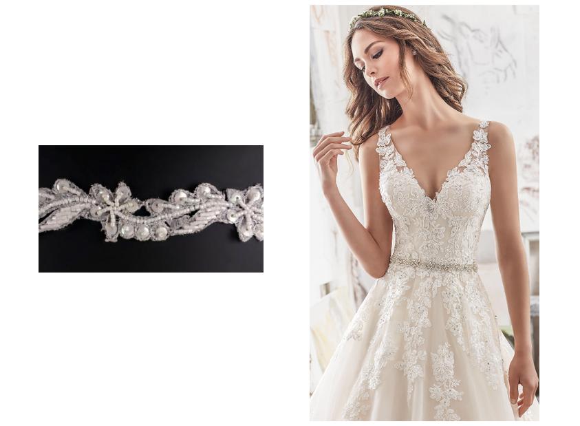 Vestido de novia con pasamanería en la cintura